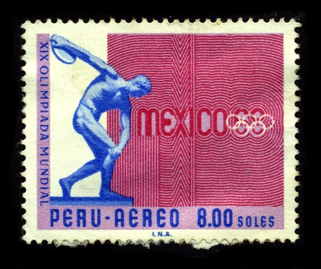 postal office: PERU-CIRCA 1968:A stamp printed in PERU A shows image of The 1968 Summer Olympics, officially known as the Games of the XIX Olympiad, were an international multi-sport event held in Mexico City in October 1968, circa 1968.