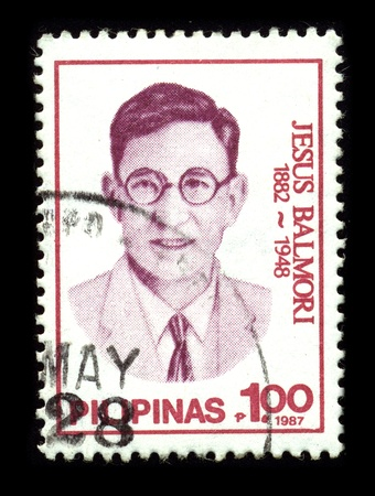 PHILIPPINES-CIRCA 1987:A stamp printed in PHILIPPINES shows image of the Jesus Batikuling Balmori (January 10, 1887 - May 23, 1948) was a Filipino Spanish language journalist, playwright, and poet, circa 1987.