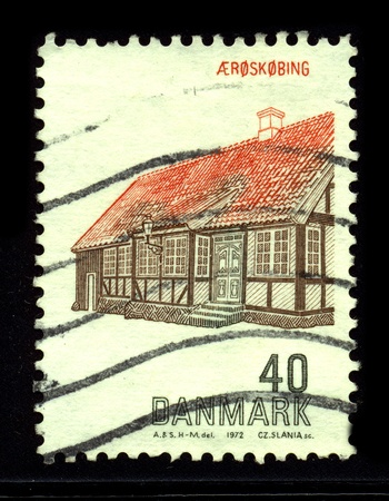 aero: DENMARK-CIRCA 1972:A stamp printed in USA shows image of the Aeroskobing is a town in central Denmark, located in Aero Municipality on the island of Aero, circa 1972.