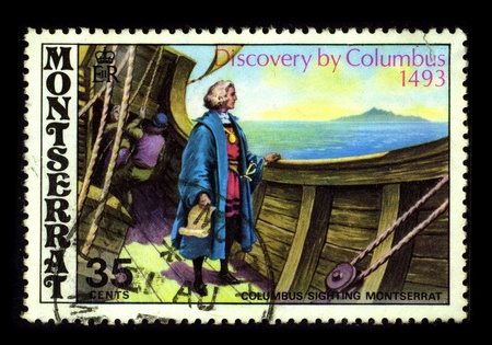 colonizer: MONTSERRAT-CIRCA 1980:A stamp printed in MONTSERRAT shows image of the Christopher Columbus (c. 31 October 1451 - 20 May 1506) was an Italian explorer, colonizer, and navigator from the Republic of Genoa, in northwestern Italy, whose voyages across the At