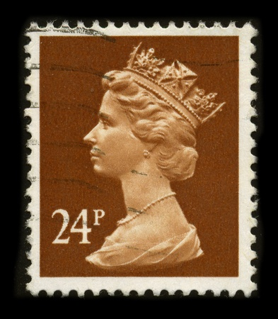 UNITED KINGDOM - CIRCA 1996: An English Used First Class Postage Stamp printed in UNITED KINGDOM showing Portrait of Queen Elizabeth in brown, circa 1996.