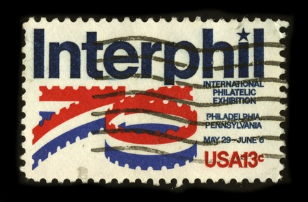 auspices: USA - CIRCA 1976: A stamp dedicated to the INTERPHIL, or the Seventh International Philatelic Exhibition, was the seventh decennial philatelic exhibition for the United States held under the auspices of the Federation Internationale de Philatelie (FIP), c Editorial