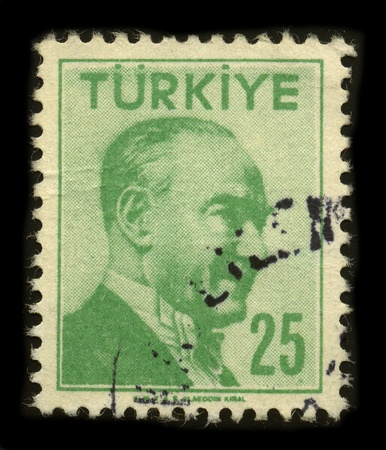 TURKEY - CIRCA 1958: A stamp printed in TURKEY shows image portrait Mustafa Kemal Ataturk was a Turkish army officer, revolutionary statesman, writer, and founder of the Republic of Turkey, as well as the first Turkish President, circa 1958.