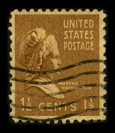 martha: USA-CIRCA 1948: A stamp printed in USA shows portrait Martha Dandridge Custis Washington (June 2, 1731 - May 22, 1802) was the wife of George Washington, the first president of the United States, circa 1948. Editorial
