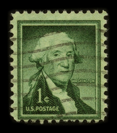 USA - CIRCA 1954: A stamp printed in USA shows image portrait George Washington (1732–1799), was the first president of the United States (1789–1797), circa 1954. Stock Photo - 8796997