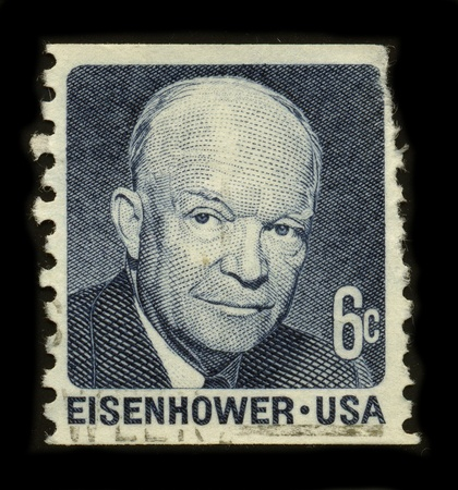 USA-CIRCA 1970:A stamp printed in USA shows image of the Dwight David Ike Eisenhower (born October 14, 1890 - March 28, 1969) was a five-star general in the United States Army and the 34th President of the United States, from 1953 until 1961, and the la