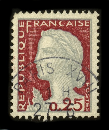 FRANCE - CIRCA 1927: A stamp printed in FRANCE shows image of the dedicated to the Freedom Gandon after Delacroixs painting The extract Liberty Leading the People by Eugene Delacroix, circa 1927.