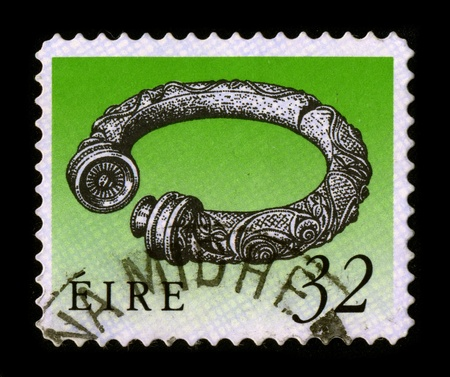 postal office: IRELAND - CIRCA 1980: A stamp printed in IRELAND shows image of the dedicated to the Irish jewelry, circa 1980.