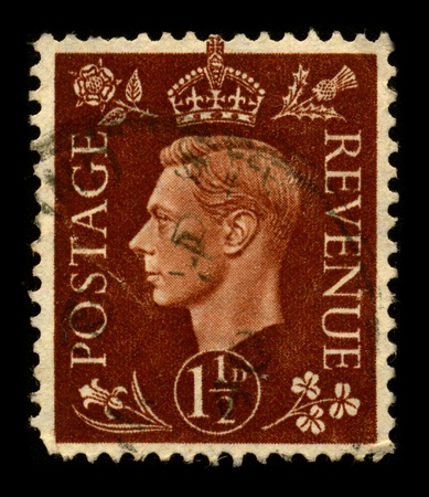 UNITED KINGDOM - CIRCA 1937: A stamp printed in UNITED KINGDOM shows image portrait George VI (Albert Frederick Arthur George; 14 December 1895 - 6 February 1952) was King of the United Kingdom and the British Dominions from 11 December 1936 until his dea