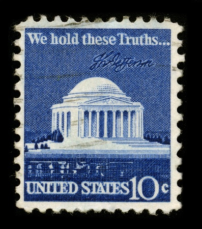 bill of rights: USA - CIRCA 1960: A stamp printed in USA shows image of the dedicated to the We Hold These Truths, a celebration of the 150th anniversary of the United States Bill of Rights, circa 1960.