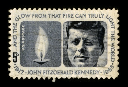 USA-CIRCA 1970:A stamp printed in USA shows image portrait John Fitzgerald Jack Kennedy (May 29, 1917 - November 22, 1963), often referred to by his initials JFK, was the 35th President of the United States, circa 1970.