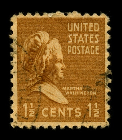 USA-CIRCA 1948: A stamp printed in USA shows portrait Martha Dandridge Custis Washington (June 2, 1731 - May 22, 1802) was the wife of George Washington, the first president of the United States, circa 1948.