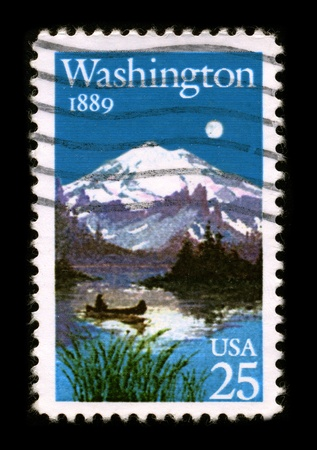 USA - CIRCA 1989: A stamp printed in USA shows image of the dedicated to the State Washington, circa 1989. Stock Photo - 8844472