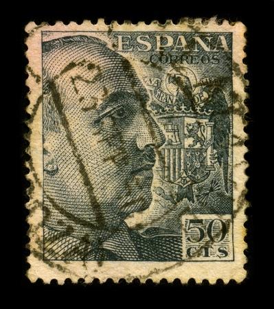 dictator: SPAIN-CIRCA 1950:A stamp printed in SPAIN shows image portrait Francisco Paulino Hermenegildo Teodulo Franco y Bahamonde Salgado Pardo de Andrade,commonly known as Franco, was a Spanish military general and dictator, circa 1950.