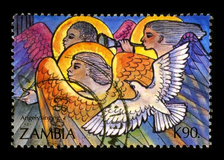 quietude: ZAMBIA-CIRCA 1993:A stamp printed in ZAMBIA shows image of the Angels, circa 1993.