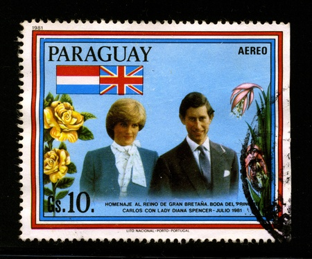 lady diana: PARAGUAY-CIRCA 1981:A stamp printed in PARAGUAY shows image of the The wedding of Charles, Prince of Wales, and Lady Diana Frances Spencer took place on 29 July 1981 at St Pauls Cathedral, London, United Kingdom, circa 1981.
