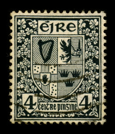 postal office: IRELAND-CIRCA 1960:A stamp printed in IRELAND shows image of the Irish coat of arms, circa 1960.