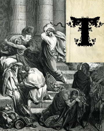 An initial letter T with Christ Expelling the Traders from the Temple. photo
