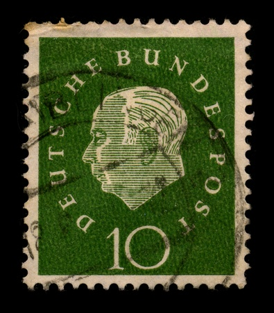 theodor: GERMANY-CIRCA 1950:A stamp printed in GERMANY shows image of the Theodor Heuss (31 January 1884 - 12 December 1963) was a German politician and served as the first President of the Federal Republic of Germany from 1949 to 1959, circa 1950. Editorial