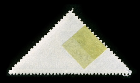 unstuck: The reverse side of a triangle postage stamp.