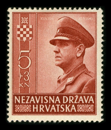 fascist: CROATIA-CIRCA 1943:A stamp printed in CROATIA shows image of the Ante Pavelic (14 July 1889 - 28 December 1959) was a Croatian fascist leader, revolutionist, and politician, circa 1943.