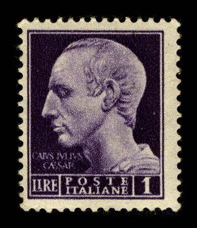 ITALY-CIRCA 1950:A stamp printed in ITALY shows image of the Gaius Julius Caesar (13 July 100 BC � 15 March 44 BC) was a Roman general and statesman, circa 1950. Stock Photo - 9129060