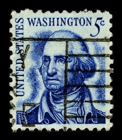 george washington: Estados Unidos-alrededor de 1966:A sello impreso en Estados Unidos muestra la imagen de la George Washington (22 de febrero de 1732 - el 14 de diciembre de 1799) fue el l�der militar y pol�tico dominante de los nuevos Estados Unidos desde 1775 a 1799, alrededor de 1966.