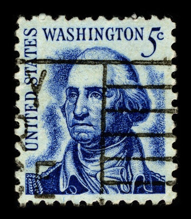 george washington: USA-CIRCA 1966:A stamp printed in USA shows image of the George Washington (February 22, 1732 - December 14, 1799) was the dominant military and political leader of the new United States of America from 1775 to 1799, circa 1966.