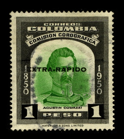 cartographer: COLOMBIA-CIRCA 1950:A stamp printed in COLOMBIA shows image of the Giovanni Battista Agostino Codazzi (alternatively known in Latin America as Agustin Codazzi; 12 July 1793 - 7 February 1859) was an Italian military, scientist, geographer and cartographer