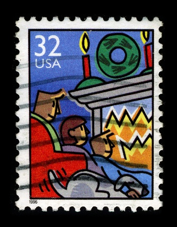 USA-CIRCA 1996:A stamp printed in USA shows image of the Christmas or Christmas Day is a holiday generally observed on December 25 to commemorate the birth of Jesus, the central figure of Christianity, circa 1996. Stock Photo - 9129083