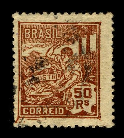 industrialization: BRAZIL-CIRCA 1960:A stamp printed in BRAZIL shows image of the Industrialization of Brazil, circa 1960.