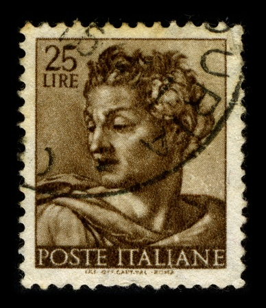 fine arts: ITALY-CIRCA 1960:A stamp printed in ITALY shows image of the Fine Arts in Italy, circa 1960.