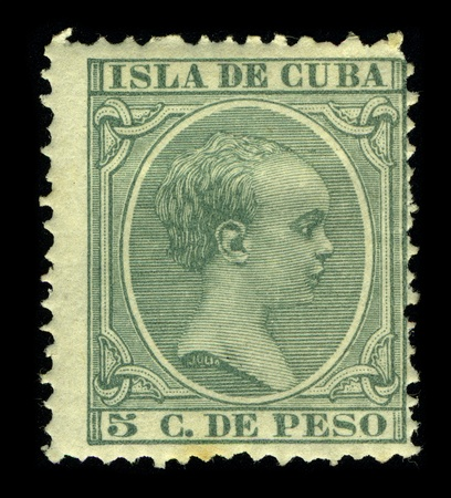 pascal: CUBA-CIRCA 1890:A stamp printed in CUBA shows image of the Alfonso XIII ( Alphonse Leon Ferdinand Mary James Isidor Pascal Anthony of Bourbon and Austria-Lorraine) (Madrid, 17 May 1886 - Rome, 28 February 1941), King of Spain, posthumous son of Alfonso XI Editorial