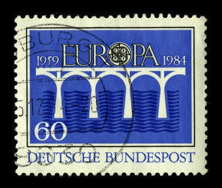 GERMANY-CIRCA 1984:A stamp printed in GERMANY shows image of the Europe is one of the world's seven continents, circa 1984. Stock Photo - 9144055