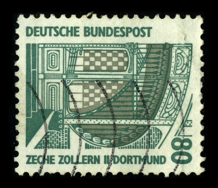 GERMANY-CIRCA 1980:A stamp printed in GERMANY shows image of The Zollverein Coal Mine Industrial Complex (German Zeche Zollverein) is a large former industrial site in the city of Essen, North Rhine-Westphalia, Germany, circa 1980.