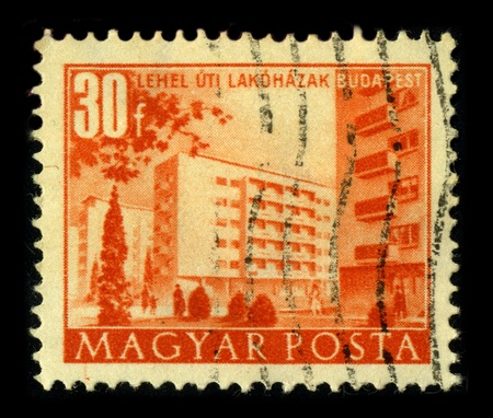 HUNGARY-CIRCA 1980:A stamp printed in HUNGARY shows image of the New Budapest, circa 1980. Stock Photo - 9205105