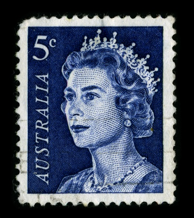 australia stamp: ENGLAND-CIRCA 1960:A stamp printed in ENGLAND shows image of the Elizabeth II is the constitutional monarch of sixteen independent sovereign states known as the Commonwealth realms: the United Kingdom, Canada, Australia, New Zealand, Jamaica, Barbados, th