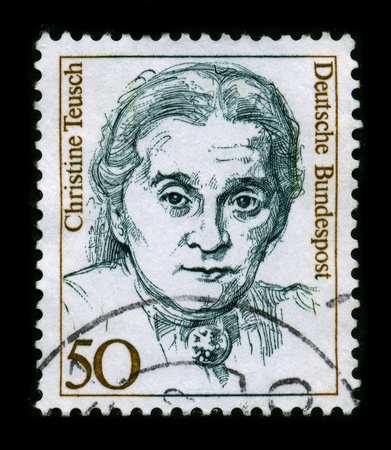 christine: GERMANY-CIRCA 1980:A stamp printed in GERMANY shows image of Christine Teusch (11 October 1888-24 October 1968) was a German politician of the Zentrumspartei (Centre Party) and the Christian Democratic Union, and Minister of Culture in Nordrhein-Westfal