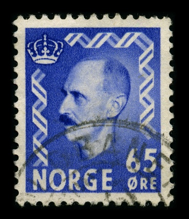 NORWAY-CIRCA 1940:A stamp printed in NORWAY shows image of Haakon VII (Prince Carl of Denmark and Iceland, born Christian Frederik Carl Georg Valdemar Axel) (3 August 1872 - 21 September 1957), known as Prince Carl of Denmark until 1905, was the first kin