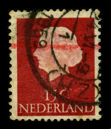 regnant: NETHERLAND-CIRCA 1959:A stamp printed in NETHERLAND shows image of the Juliana (Juliana Louise Emma Marie Wilhelmina; 30 April 1909 - 20 March 2004) was the Queen regnant of the Kingdom of the Netherlands between 1948 and 1980, circa 1959.