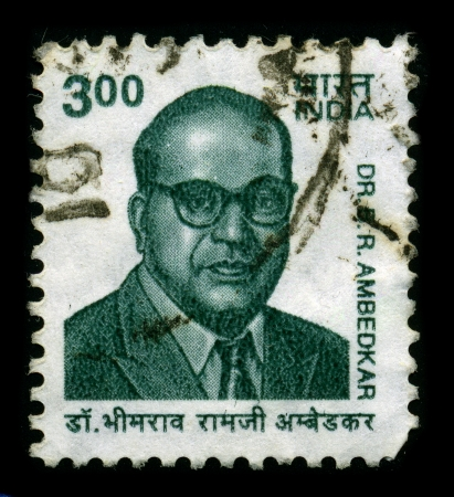 political economist: INDIA-CIRCA 1960:A stamp printed in INDIA shows image of Bhimrao Ramji Ambedkar(14 April 1891 - 6 December 1956), also known as Babasaheb, was an Indian jurist, political leader, Buddhist activist, philosopher, thinker, anthropologist, historian, orator,  Editorial