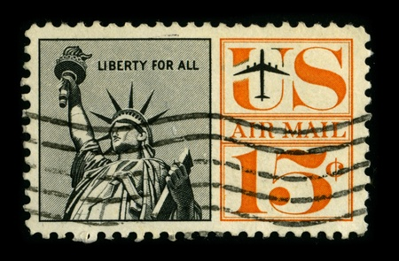 enlightening: USA-CIRCA 1980:A stamp printed in USA shows image of The Statue of Liberty (Liberty Enlightening the World) is a colossal neoclassical sculpture on Liberty Island in New York Harbor, circa 1980.