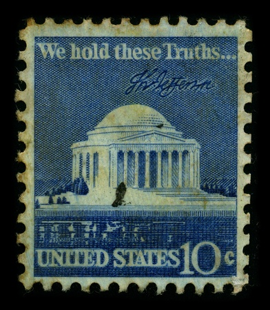 postal office: USA-CIRCA 1950:A stamp printed in USA shows image of the We Hold These Truths, a celebration of the 150th anniversary of the United States Bill of Rights, circa 1950. Editorial