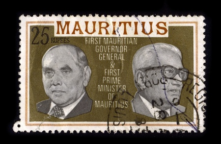 genera: MAURITIUS-CIRCA 1980:A stamp printed in MAURITIUS shows image of the First Mauritian Governon General & First Prime Minister Of Mauritius, circa 1980.