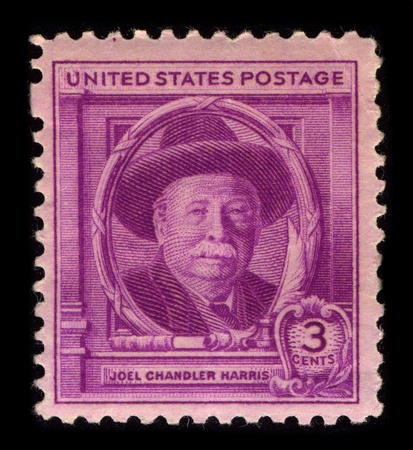 chandler: USA-CIRCA 1940:A stamp printed in USA shows image of Joel Chandler Harris (December 9, 1845 - July 3, 1908) was an American journalist, fiction writer, and folklorist best known for his collection of Uncle Remus storiesl, circa 1940. Editorial