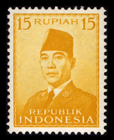sukarno: INDONESIA-CIRCA 1970:A stamp printed in INDONESIA shows image of the Sukarno, born Kusno Sosrodihardjo (6 June 1901 - 21 June 1970) was the first President of Indonesia, circa 1970.