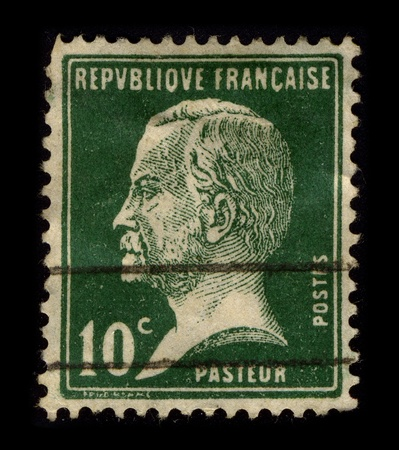 on the dole: FRANCE-CIRCA 1940:A stamp printed in FRANCE shows image of Louis Pasteur (December 27, 1822 - September 28, 1895) was a French chemist and microbiologist born in Dole, circa 1940. Editorial