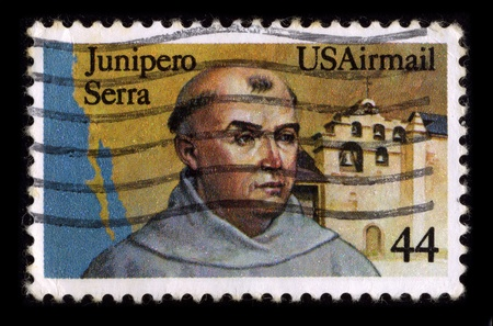 fray: USA-CIRCA 1980:A stamp printed in USA shows image of Fray Junipero Serra (known as Fra Juniper Serra in Catalan, his mother tongue)was a Majorcan Franciscan friar who founded the mission chain in Alta California of the Las Californias Province in New Spai