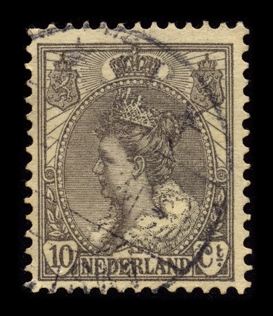 regnant: NETHERLAND-CIRCA 1899:A stamp printed in NETHERLAND shows image of Wilhelmina (Wilhelmina Helena Pauline Maria; 31 August 1880 - 28 November 1962) was Queen regnant of the Kingdom of the Netherlands from 1890 to 1948, circa 1899.