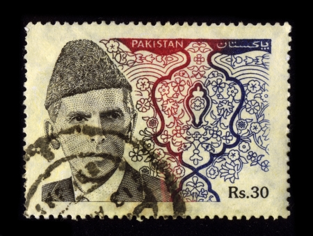stamp collecting: PAKISTAN-CIRCA 1970:A stamp printed in PAKISTAN shows image of the Pakistani politician, circa 1970.